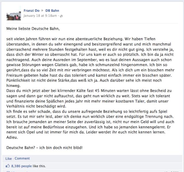 Lovestory Deutsche Bahn